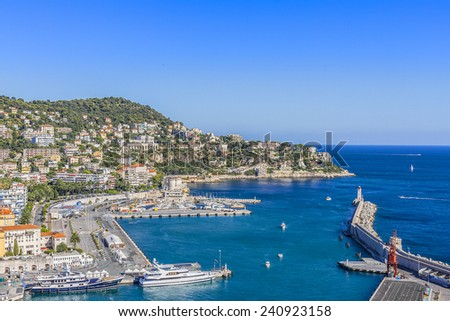 Aerial view of the old Harbor Lympia and the city architecture in Nice, Cote d'Azur. Port was built in 1745.