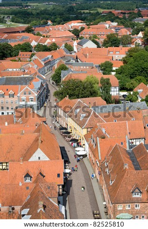Aerial view of the oldest town in Denmark: Ribe - stock photo