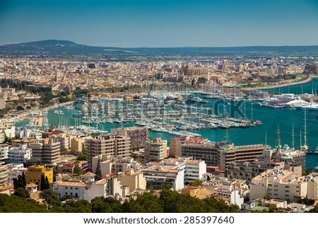 aerial view of the port and historical centre of Palma de Mallorca, Spain