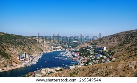 Aerial view of the port of historical city famous for the battle during the Crimea war - Balaclava. Yachts and boats in a very famous touristic destination - stock photo
