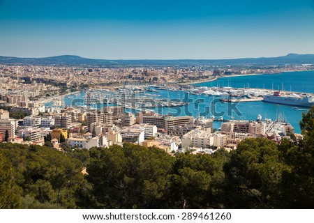 aerial view of the port of Palma de Mallorca, Spain - stock photo