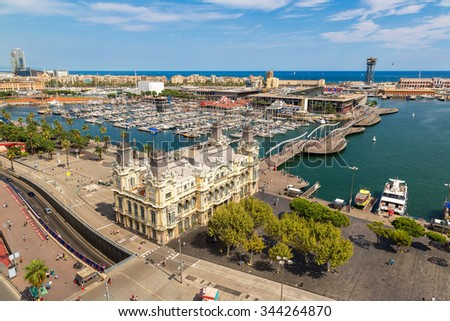 Aerial view of the port Vell in Barcelona, Spain - stock photo