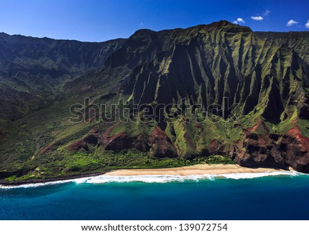 Aerial View of the remote Na Pali Coastline - stock photo