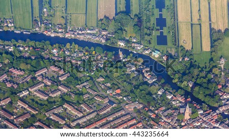Aerial view of the residential areas and farmlands near Amsterdam, Netherlands - stock photo