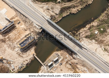 aerial view of the  river and bridge building site in Poland