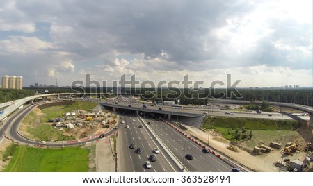 Aerial view of the road intersection construction on MKAD in Moscow, Russia