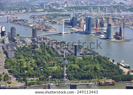Aerial view of the Rotterdam skyline, the Netherlands