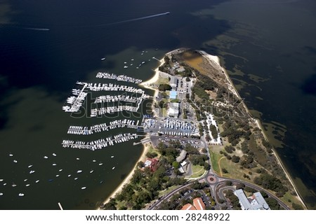 Aerial view of the Royal Perth Yatch Club - stock photo