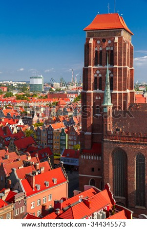 Aerial view of the Saint Mary Church and Old Town in the summer sunny morning from City Hall, Gdansk, Poland