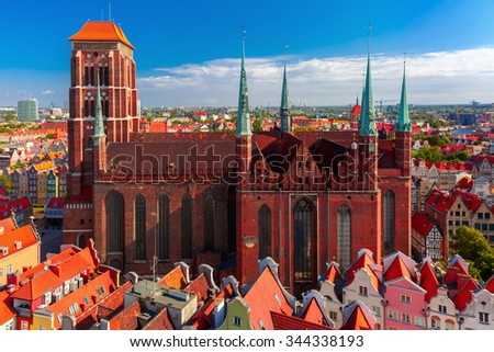 Aerial view of the Saint Mary Church in the summer sunny morning from City Hall, Gdansk, Poland