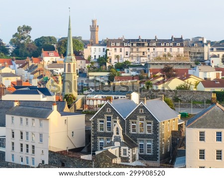 Aerial view of the Saint Peter Port, Bailiwick of Guernsey, Channel Islands - stock photo