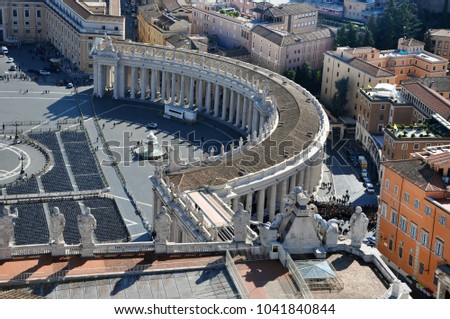 Aerial view of the Saint Peter's square in Vatican city. Cityscape above view from the dome of the basilica