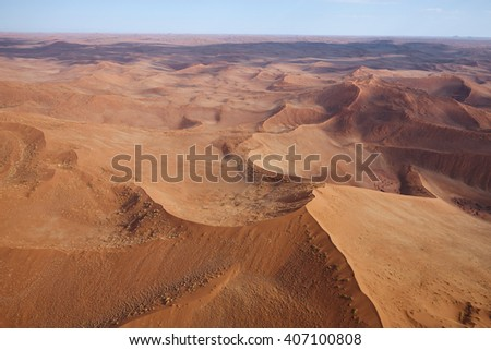 Aerial view of the sand dunes of Sossusvlei, Namibia, Africa - stock photo