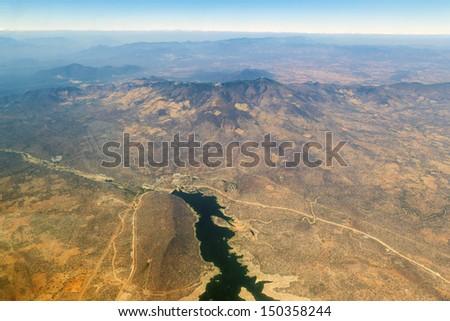 Aerial view of  the  Serengeti National Park  - Tanzania - stock photo