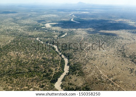 Aerial view of  the  Serengeti National Park  - Tanzania - stock photo