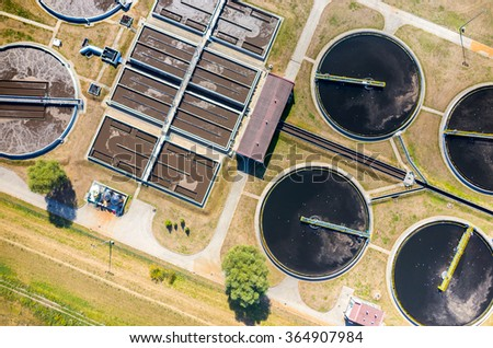 Aerial view of the sewage treatment plant - stock photo