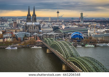 Aerial view of the skyline of Cologne, Germany