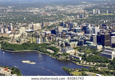 aerial view of the skyline of downtown Ottawa, including Parliament buildings; Ottawa, Ontario Canada