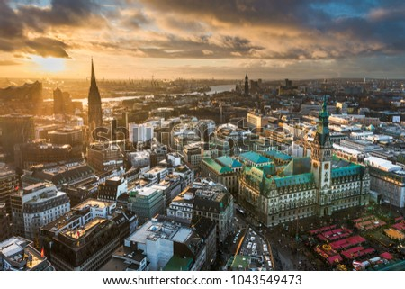 Aerial view of the skyline of Hamburg, Germany