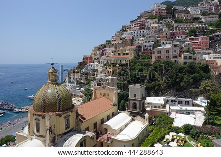 Aerial view of the skyline of Positano, Italy on the Amalfi Coast, a popular tourist destination.