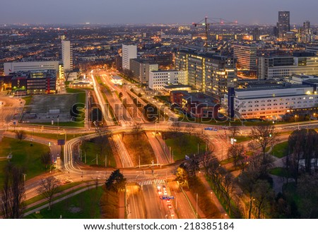 Aerial view of the skyline of Rotterdam from the Euromast tower, the Netherlands - stock photo