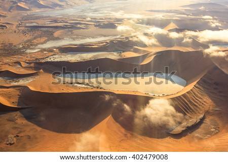 Aerial view of the Sossusvlei desert in the Namib Naukluft National Park, Namibia. - stock photo