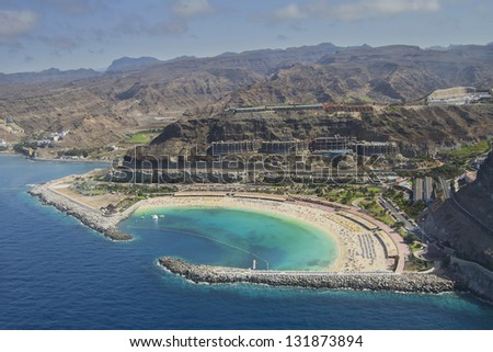 Aerial view of the south coast of Canary Island, Spain - stock photo