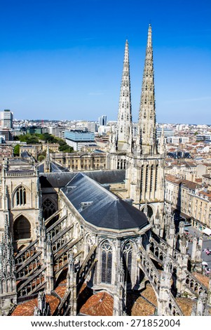 Aerial view of the St. Andrew's Cathedral in Bordeaux, France - stock photo