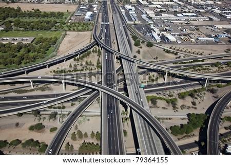 Aerial view of the Stack Interchange in Phoenix, Arizona - stock photo