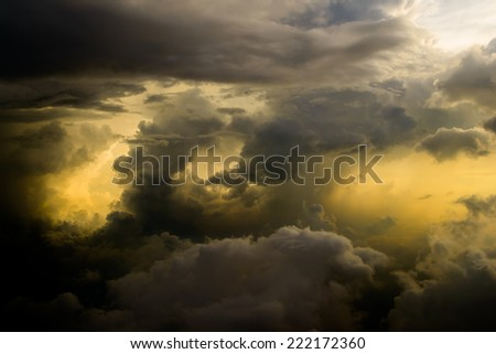 aerial view of the stormy sky with clouds from jet flight