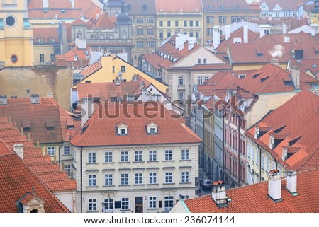 Aerial view of the streets of Prague Old Town in foggy autumn day, Czech Republic - stock photo