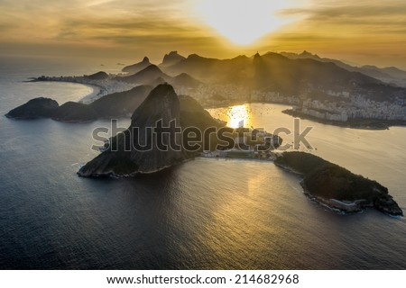 Aerial view of the sunset at Rio de Janeiro, Brazil - stock photo