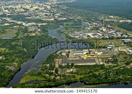 Aerial view of the surroundings Bydgoszcz in Poland. - stock photo