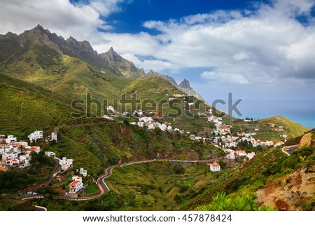 aerial view of the Taganana valley in Anaga mountains, Tenerife, Canary Islands