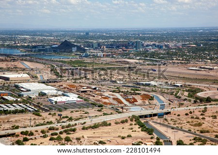 Aerial view of the Tempe, Arizona downtown and surrounding area - stock photo