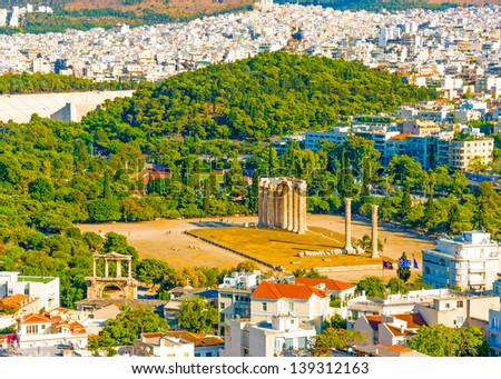 aerial view of the Temple of Olympian Zeus from Acropolis in Athens Greece