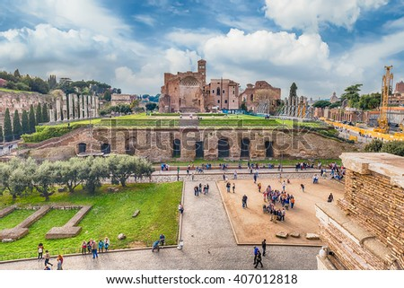 Aerial view of the Temple of Venus in Roman Forum, Rome, Italy - stock photo