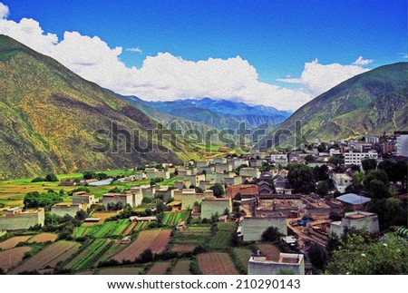 Aerial view of the tibetan village of Xiancheng, sichuan province, China, stylized and filtered to look like an oil painting