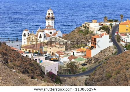 Aerial view of the town of Candelaria with its basilica, eastern part of Tenerife, Canary Islands, Spain - stock photo