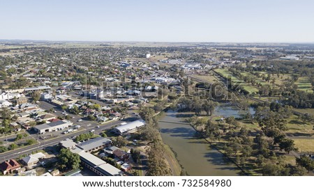 Aerial view of the town of Forbes New South Wales, Australia.