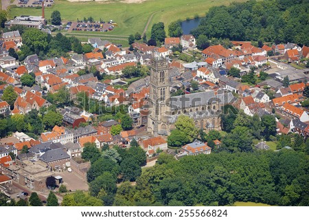 Aerial view of the town of Zaltbommel with the St. Maartens church in the province of Gelderland, the Netherlands. - stock photo
