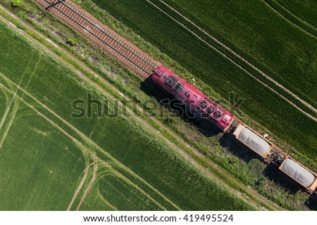 aerial view of the train on the railway track in Poland - stock photo