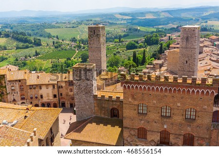 aerial view of the UNESCO protected medieval town of San Gimignano, Tuscany, Italy