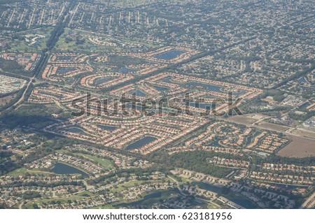 Aerial View Urbanized Areas US Cities Stock Photo Royalty Free