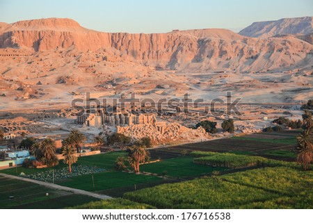Aerial view of the valley of the kings in luxor, egypt - stock photo