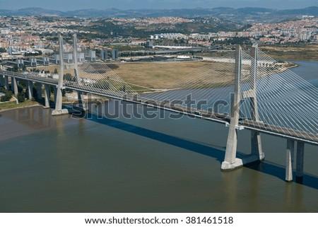 Aerial view of the Vasco de Gama bridge in Lisbon, Portugal - stock photo
