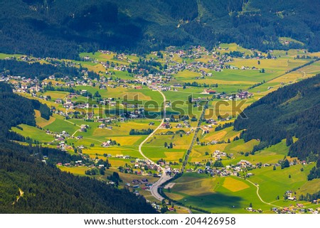 Aerial view of the village in mountains Alps Austria - stock photo