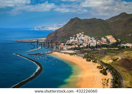 aerial view of the village San Andres and Las Teresitas beach, Tenerife, Canary Islands, Spain - stock photo