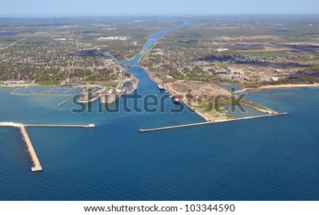 aerial view of the Welland Canal, Lake Erie entrance;  Port Colborne Ontario Canada - stock photo