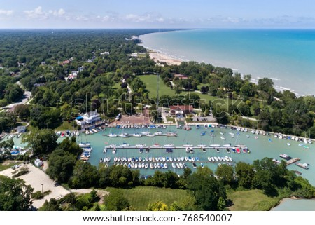 Aerial view of the Wilmette Harbor and the Lake Michigan shoreline in Wilmette, Illinois.